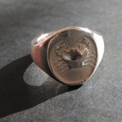 Ring Krabbe – massiv Silber – Vintage Look